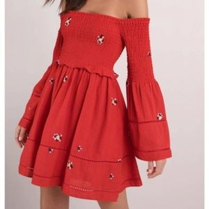 NWT Free People Red Counting Daisies Dress